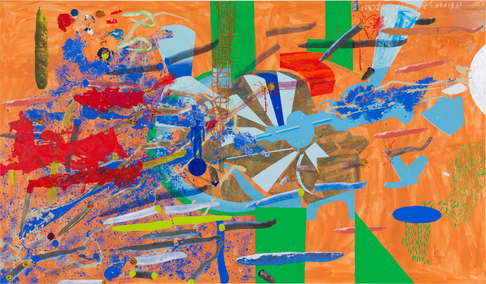 A Constructed World Hydro-power turbine eel massacre, 2021; synthetic polymer paint on canvas; 200 x 340 cm; enquire