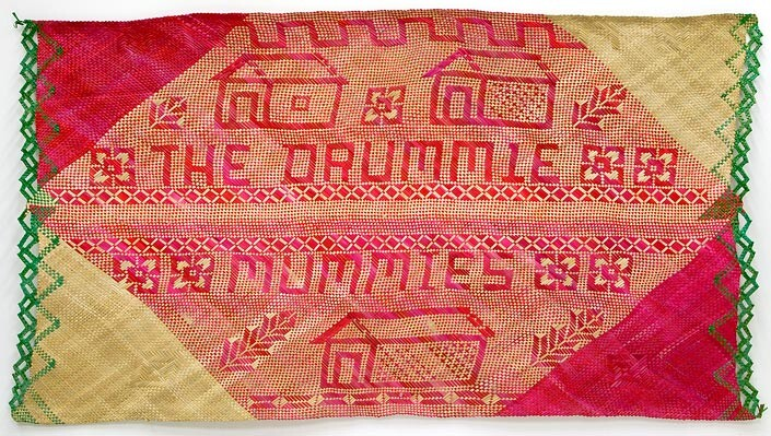Newell Harry untitled (The Drummie / Mummies), 2007; from the series gift mat; Pandanus and dye; 118 x 210 cm; irregular; enquire