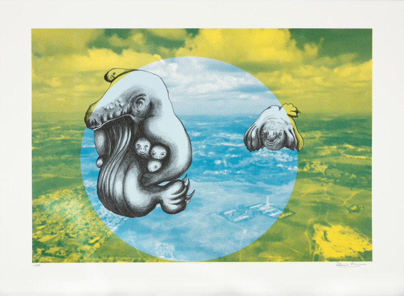 Patricia Piccinini The Skywhale Suite (Cityscape), 2019; Lithograph on BFK Rives 250gsm; 50 x 60 cm; edition of 25 + 2 AP; enquire