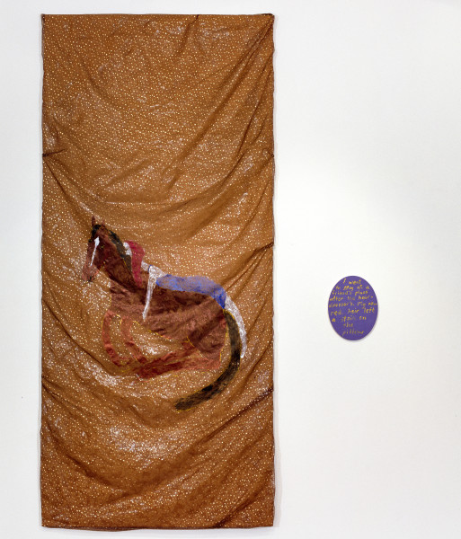 Jenny Watson Horse around, 2007; Part 1: oil and acrylic on rabbit skin glue primed Chinese organza over damask, 280 x 126 cm