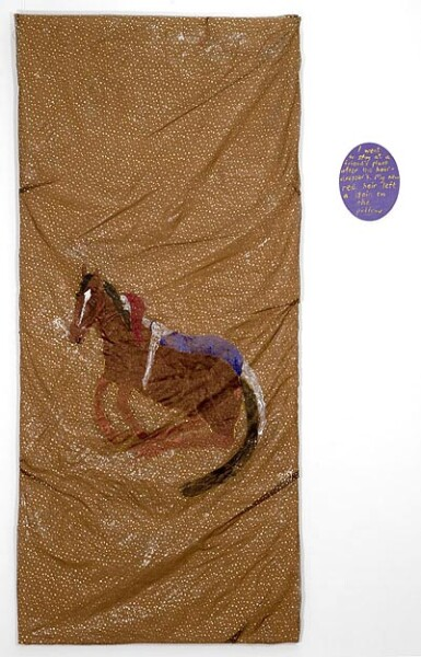 Jenny Watson Horse around, 2007; Part 1: oil and acrylic on rabbit skin glue primed Chinese organza over damask, 280 x 126 cm Part 2: acrylic on prepared oval stretcher, 36 x 28 cm ; enquire