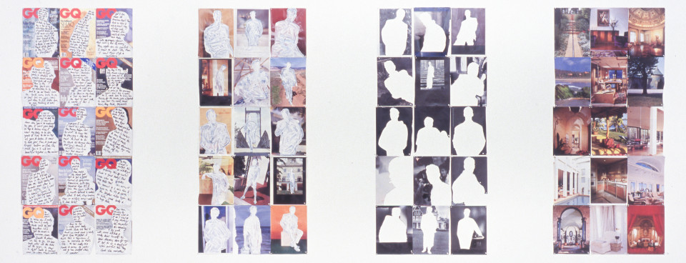 Lachlan Warner The Sight of Being, 1994; printed pages with ink and acrylic paint; exhibited in panels of 15; panel size 137 x 62 cm, 27 x 21cm each; enquire