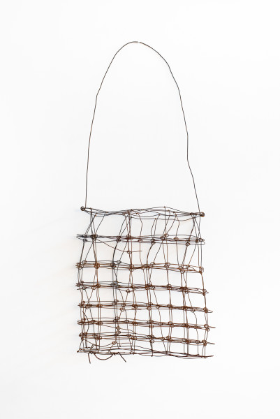 Lorraine Connelly-Northey Narrbong, 2019; CONNL - 0014; burnt ringlock fencing wire; 195 x 68 x 20 cm; enquire