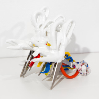 Teppei Kaneuji White Discharge (Scissors #7), 2011; found objects, resin, glue; 13 x 21 x 21 cm; enquire