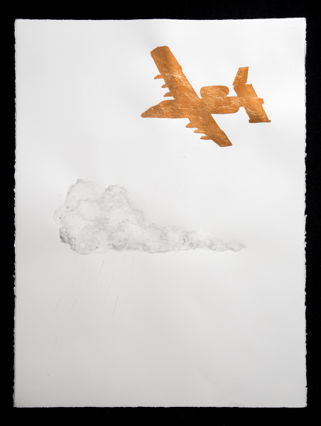Caroline Rothwell Stratospheric aerosol cloud seeder, 2014; Copper leaf, vehicle exhaust emission, acrylic binder on Arches hot pressed archival paper; 76 x 57cm (paper), 80.5 x 61.5cm (framed); enquire