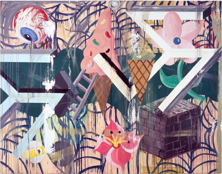 David Griggs Frat of the Obese 2, 2011; acrylic on canvas; 213 x 274 cm; Diptych; enquire