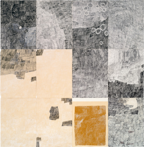 Nyapanyapa Yunupingu Djorra (paper) 3, 2014; felt tip pens, white clay, acrylic paint on discarded print proofs; 228 x 224 cm; 76 x 56cm (each); enquire