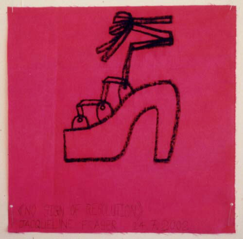 Jacqueline Fraser >, 2002; from the series Jacqueline Fraser 14.7.2002 Parisian Fabric Drawings; Oil stick on pink water stained taffeta; 32 x 32 cm; enquire