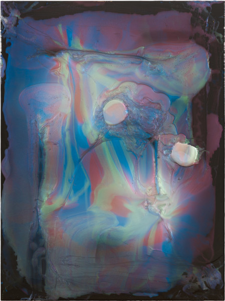 Dale Frank The Dark Lord of Testicular Orchitis, 2021; Interference colour pigment in Epoxyglass, on Perspex; 160 x 120 cm; enquire