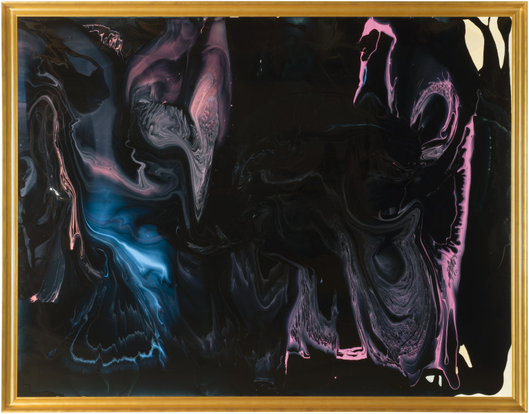 Dale Frank Left with the integrated spectacle of your own failing hollow breathing, 2013; varnish on canvas; 214 x 274 cm; enquire