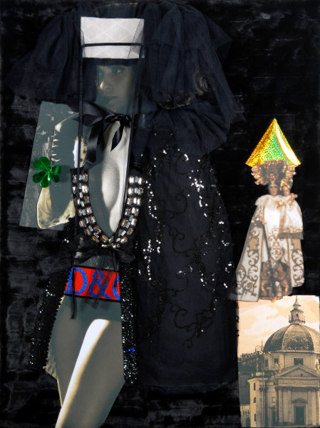 """Jacqueline Fraser 10. """"If that vile Monica Belluci groupie rubs garlic in her Jimmy Choos, she'll be the next D & G Madonna, sweetie"""", 2008; backlit photographs and mixed media; 123 x 93 x 15 cm;"""