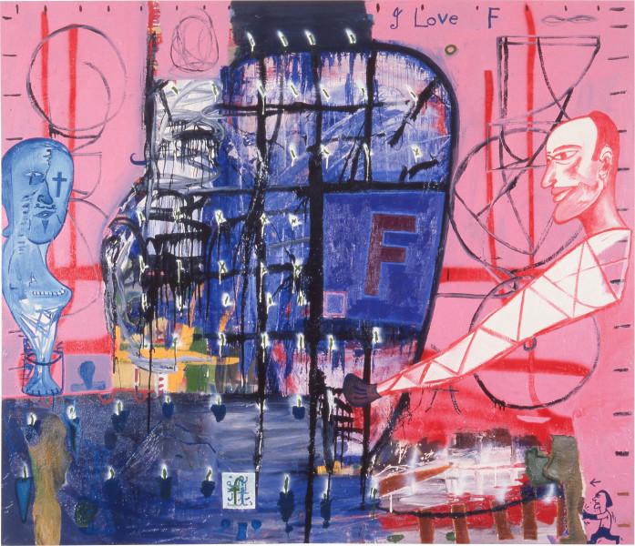 "Gareth Sansom I Love ""F"", 1988; oil and enamel on linen; 198.1 x 213.3 cm; enquire"