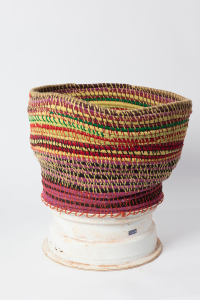 Claire Healy and Sean Cordeiro Puljalja, 2017; wool, Minari desert grass and car wheel; 59 x 60 x 53 cm; enquire