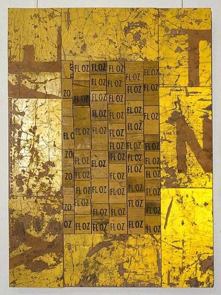 Rosalie Gascoigne Imperial Measure, 1993-94; retro-reflective sign, sawn soft drink crates on craftboard; 82 x 60 cm; enquire