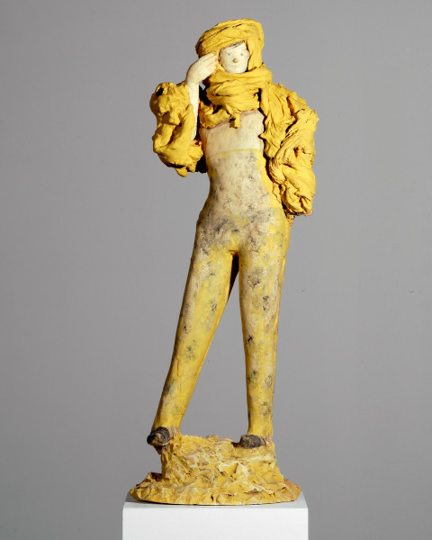 Linda Marrinon Woman in high-waisted pants, 2007; tinted plaster, paint; 73 x 25 x 17 cm; enquire
