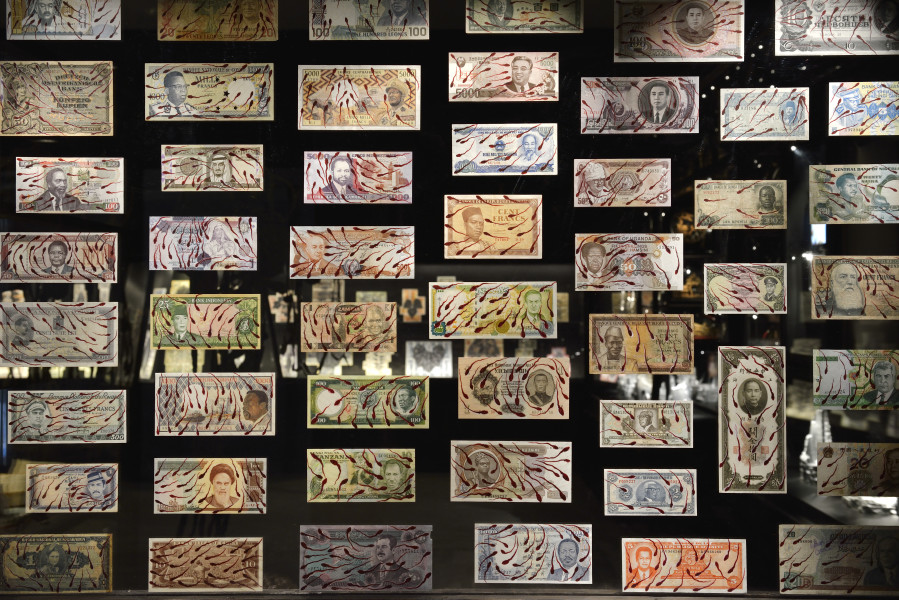 Fiona Hall Where the wind blows, 2015; gouache on banknotes; dimensions variable; enquire