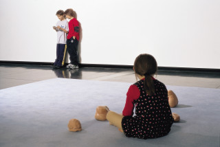 Installation view; Patricia Piccinini Game Boys Advanced, 2002; silicone, polyurethane, clothing, human hair; variable; Edition of 3; enquire