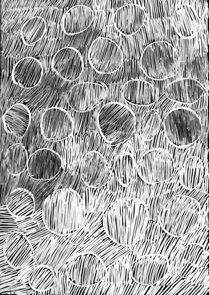 Nyapanyapa Yunupingu 31. Birrka'mirri 2, 2011; 4303A; paint pen on clear acetate plastic; 83.5 x 59.5 cm; enquire