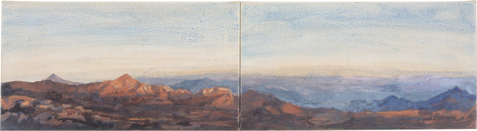 Mandy Martin Volcán, 2002; ochre, pigment, acrylic on arches paper; diptych, total dimensions 30 x 112 cm; enquire