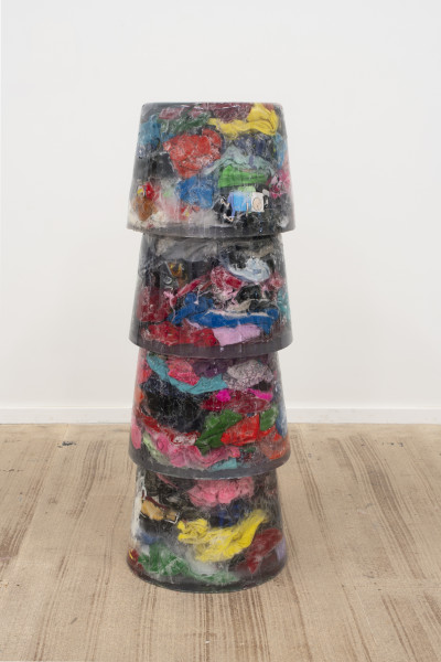 Dale Frank Roger Cumshore was not his real name. He was the highest paid porn star in New Zealand before moving to Sydney in 09 to study Glass blowing at Stanmore TAFE, 2018; Charity children's clothing in resin; 127 x 45 x 45 cm; enquire