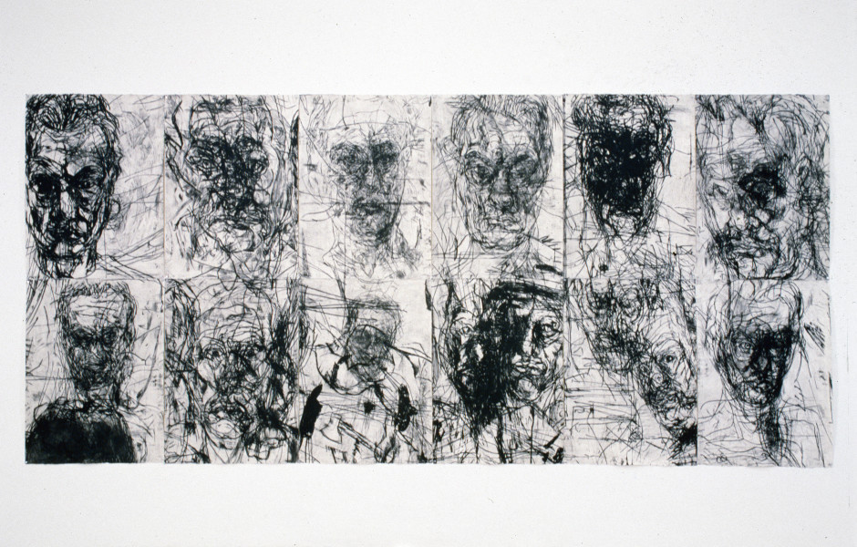 Mike Parr 12 Untitled Self Portraits Set 2, 1990; drypoint from copper; 214 x 468 cm; enquire