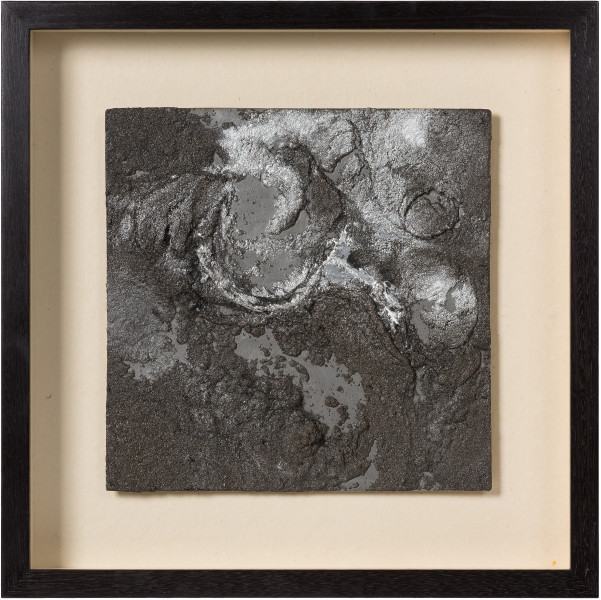 Kirtika Kain smoke, 2019; iron filings, silver pigment, wax, zinc; 47 x 47 cm; enquire