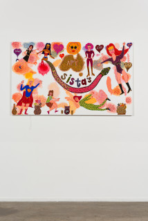 installation view; Kaylene Whiskey APY Sistas, 2020; Acrylic on linen; 101 x 167 cm; enquire