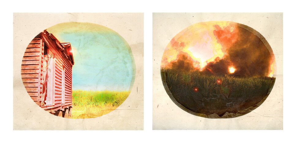 Tracey Moffatt Plantation (Diptych No. 2), 2009; digital print with archival pigments, InkAid, watercolour paint and archival glue on handmade Chautara Lokta paper; 46 x 50.5 cm (each); Edition of 12 + AP 2; enquire