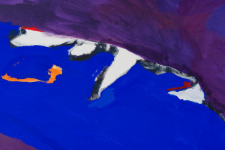 Tom Polo rise and return (soft shield) (detail), 2021; acrylic and Flashe on canvas; two parts, 198 x 426 cm; enquire