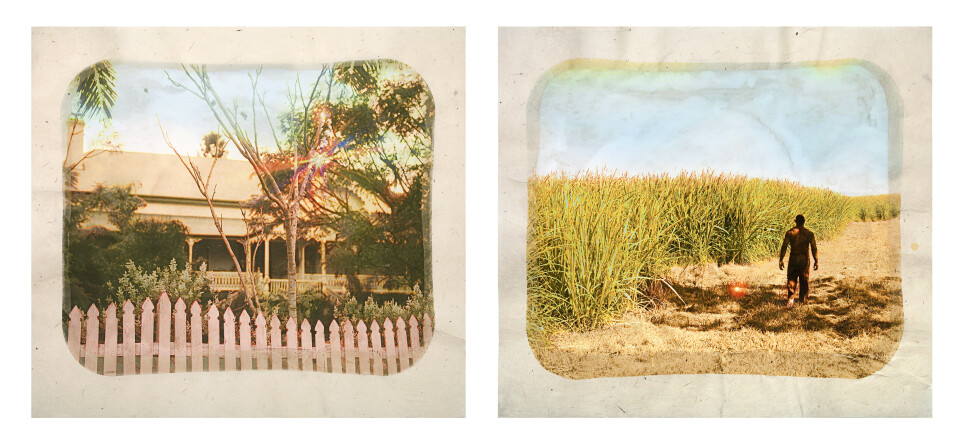Tracey Moffatt Plantation (Diptych No. 5), 2009; digital print with archival pigments, InkAid, watercolour paint and archival glue on handmade Chautara Lokta paper; 46 x 50.5 cm (each); Edition of 12 + AP 2; enquire