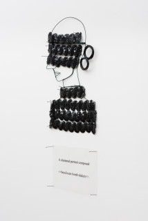 Jacqueline Fraser A clustered portrait composed >, 2003; from the series AN ELEGANT PORTRAIT REFINED IN ELEVEN STUDIOUS PARTS >; wire, sequin braid from Chelsea, N.Y; 85 x 35 cm; enquire