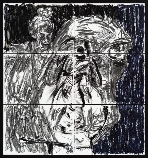 Pierre Mukeba (Black Blotch), 2021; charcoal and pastel on archival paper; 90 x 84 cm; enquire