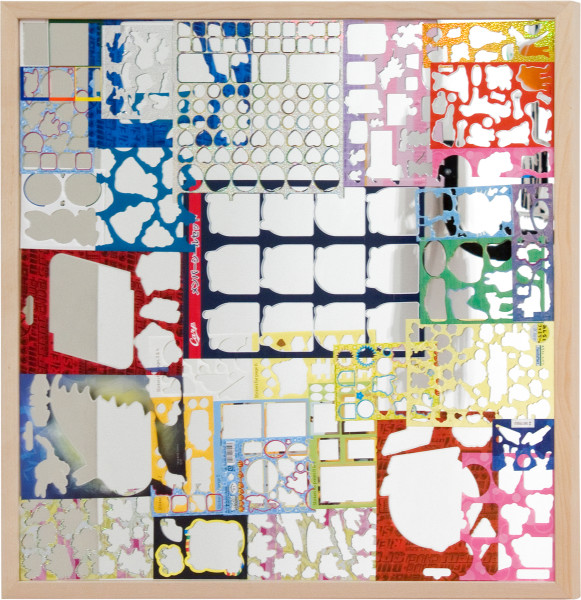 Teppei Kaneuji Ghost Buildings (Mirror # 5), 2011; Mirror, assorted sticker sheets; 75 x 75 cm; enquire