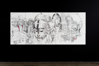 installation view; Pierre Mukeba Lust (Sex) (P1), 2021; charcoal on archival paper; 126 x 296 cm; enquire