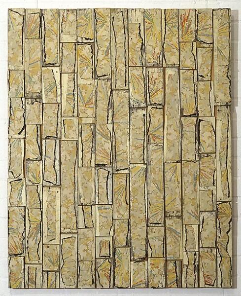 Rosalie Gascoigne Regeneration, 1994; linoleum on wood; 122 x 99 cm; enquire