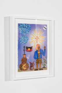 installation view; Kaylene Whiskey Tina Turner in Coober Pedy, 2020; Acrylic on found print; 30 x 20 cm; enquire