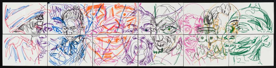 Pierre Mukeba (Emotions of colour (P2), 2021; charcoal and pastel on archival paper; 60 x 252 cm; enquire