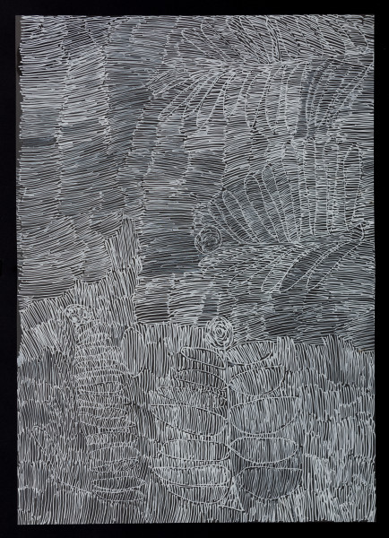Nyapanyapa Yunupingu untitled, 2018; 5277-18; paint pen on clear acetate; 86 x 62 cm; enquire