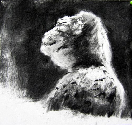 Louise Hearman Untitled #1076, 2005; charcoal on paper; 17 x 18 cm; enquire
