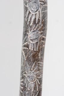 Nyapanyapa Yunupingu Ganyu (detail), 2018; 2460-18; natural earth pigments on hollow log; 243 x 15 x 15 cm; enquire