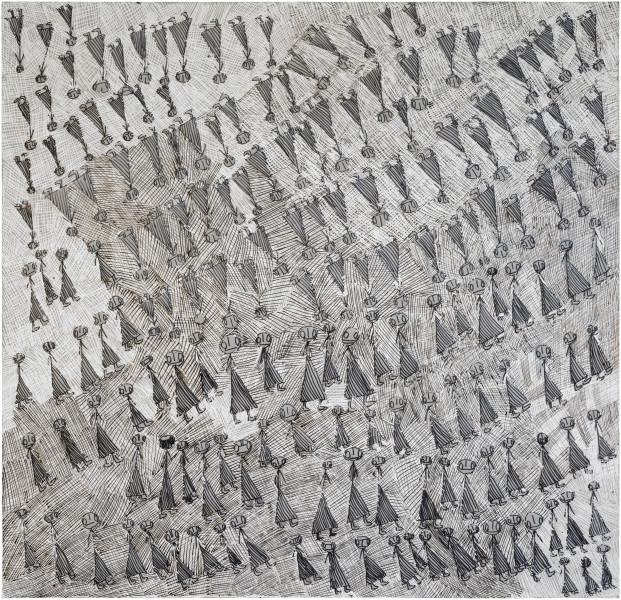 Nyapanyapa Yunupingu Yolngu' Yulngu, 2014; G01; felt tip pen, earth pigments on discarded photography backdrop (paper); 130 x 130 cm; enquire