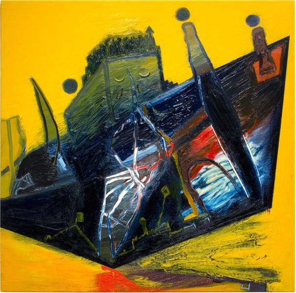 Gareth Sansom Ship of Fools (Stanley Kramer), 2012; oil and enamel on linen; 76 x 76 cm; enquire