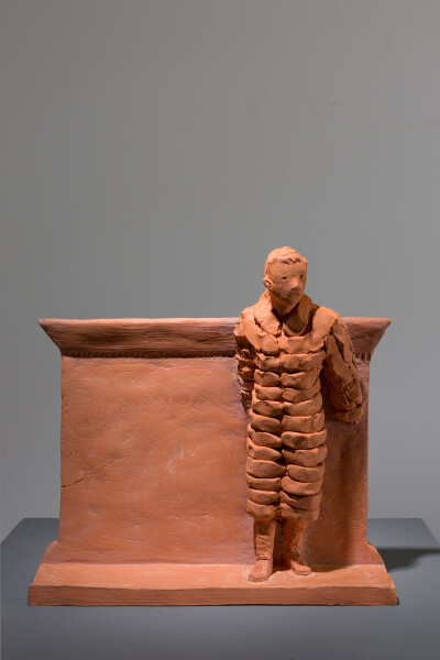 Linda Marrinon Figure in puffy coat at Owatonna, 2018; terracotta; 27 x 28 x 12 cm; enquire