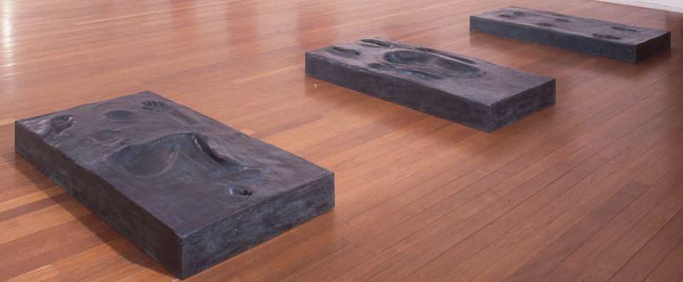 Julie Rrap Monument 1 (on all fours); Monument 2 (seated posture); Monument 3 (lying posture), 1995-96; fibreglass and bronze dust; each: 141 x 78.5 x 15 cm; enquire