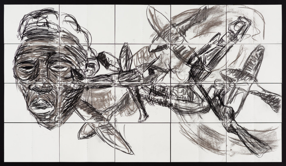 Pierre Mukeba Insomnia, 2021; charcoal on archival paper; 120 x 210 cm; enquire