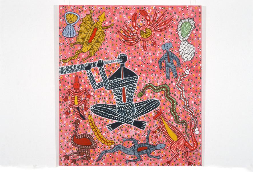 Robert Campbell Jnr Didjeridoo Player, 1988; acrylic on canvas; 122 x 107 cm; enquire