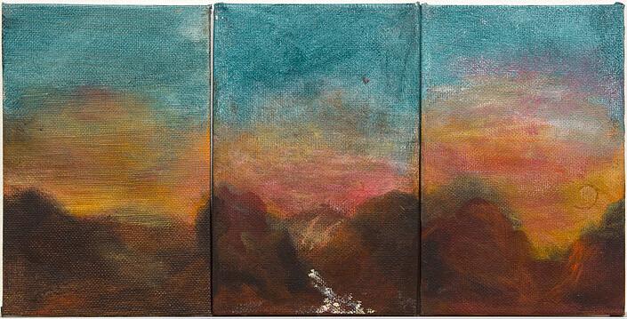 Tony Clark 3 Sections from Clark's Myriorama, 1994; acrylic on  canvas board; 15.3 x 10.2cm (each panel) 15.3 x 30.6 (overall; enquire