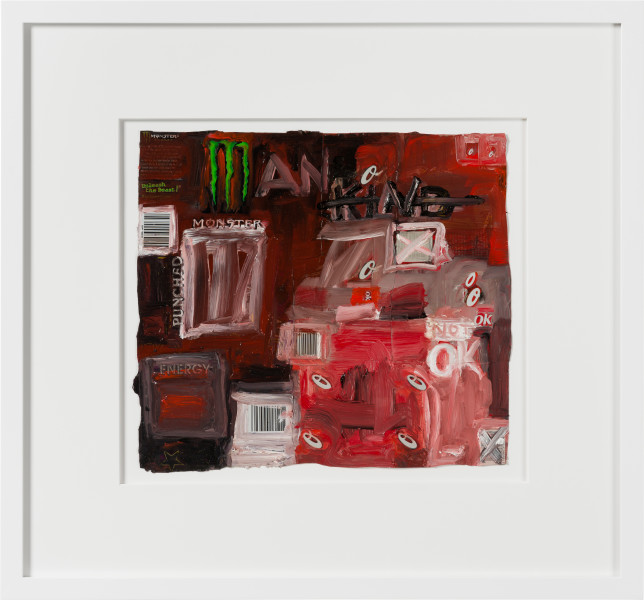 Fiona Hall man kind, 2020; oil paint on aluminium drink cans; 54 x 58 cm; Enquire