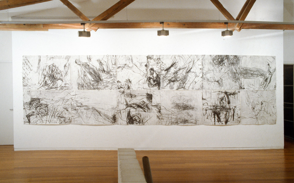 Mike Parr Great Distances Between Small Towns, 1990; drypoint from copper; 156 x 1284 cm; enquire