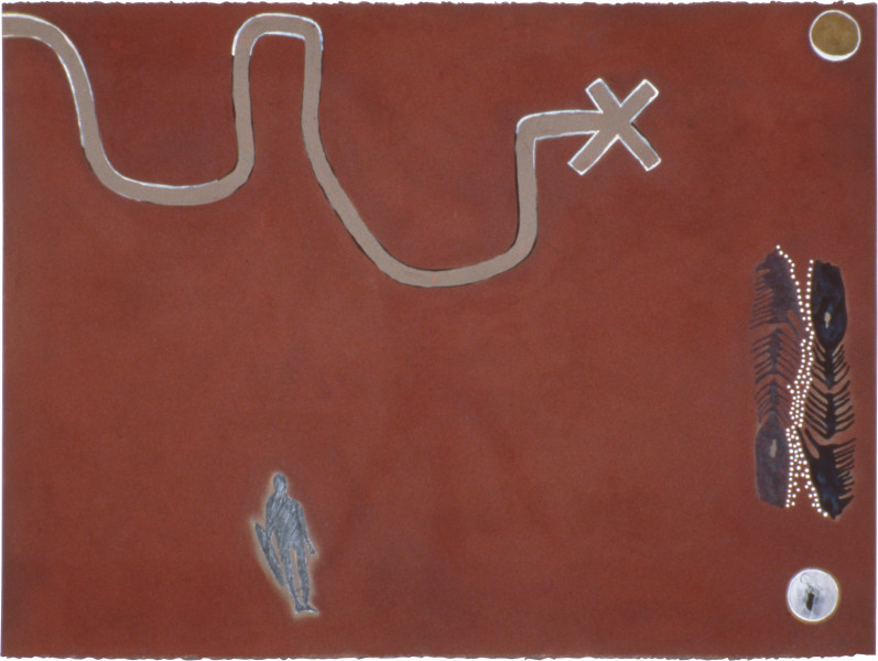 Fiona Foley Ephemeral Signs, 1990; collage, acrylic, ink and pencil on paper; 57 x 76.5 cm; enquire